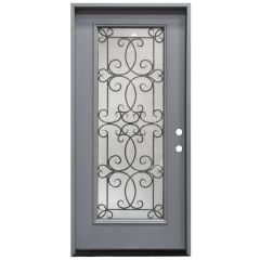 "36"" Ulysses Full View Exterior Fiberglass Door - Gray - Left Hand Inswing"