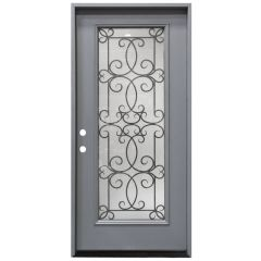 "36"" Ulysses Full View Exterior Fiberglass Door - Gray - Right Hand Inswing"