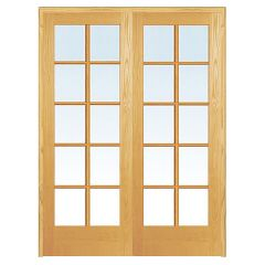 "48"" 10-Lite Prehung French Double Pine Doors"
