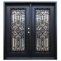 Marbella Double Wrought Iron Entry Door Left Swing 6068