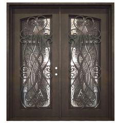 Palencia Double Wrought Iron Entry Door Left Swing 6068