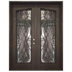 Palencia Double Wrought Iron Entry Door Left Swing 6080