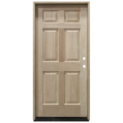 TCM100 6-Panel Mahogany Exterior Wood Door - Left Hand Inswing
