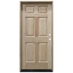 TCM100 6-Panel Mahogany Exterior Wood Door - Left Hand Inswing