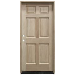 TCM100 6-Panel Mahogany Exterior Wood Door - Right Hand Inswing