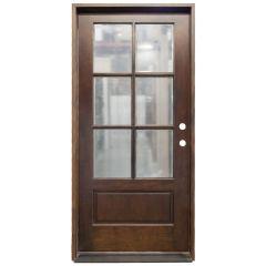TCM200 6-Lite Exterior Wood Door - Clear Glass - Russet - Left Hand Inswing
