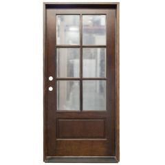 TCM200 6-Lite Exterior Wood Door - Clear Glass - Russet - Right Hand Inswing