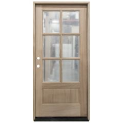 TCM200 6-Lite Mahogany Exterior Wood Door - Clear Glass - Right Hand Inswing