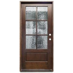 TCM200 6-Lite Exterior Wood Door - Flemish Glass - Russet - Left Hand Inswing
