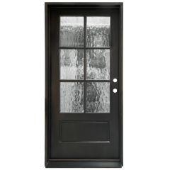 TCM200 6-Lite Exterior Wood Door - Flemish Glass - Smoke - Left Hand Inswing