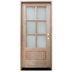 TCM200 6-Lite Mahogany Exterior Wood Door - Flemish Glass - Left Hand Inswing