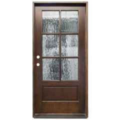 TCM200 6-Lite Exterior Wood Door - Flemish Glass - Russet - Right Hand Inswing