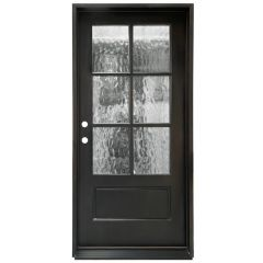 TCM200 6-Lite Exterior Wood Door - Flemish Glass - Smoke - Right Hand Inswing