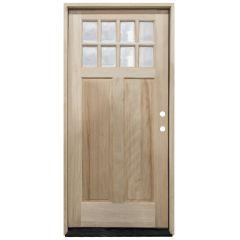 TCM500 8-Lite Mahogany Exterior Wood Door - Clear Glass - Left Hand Inswing