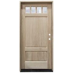 TCM600 4-Lite Mahogany Exterior Wood Door - Clear Glass - Left Hand Inswing
