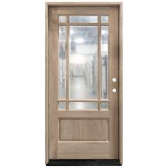 TCM700 9-Lite Mahogany Exterior Wood Door - Clear Glass - Left Hand Inswing