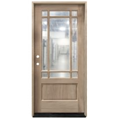 TCM700 9-Lite Mahogany Exterior Wood Door - Clear Glass - Right Hand Inswing