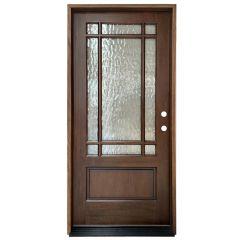 TCM700 9-Lite Exterior Wood Door - Flemish Glass - Honey - Left Hand Inswing