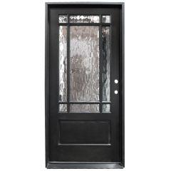 TCM700 9-Lite Exterior Wood Door - Flemish Glass - Smoke - Left Hand Inswing