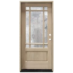 TCM700 9-Lite Mahogany Exterior Wood Door - Flemish Glass - Left Hand Inswing