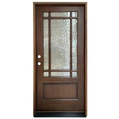 TCM700 9-Lite Exterior Wood Door - Flemish Glass - Honey - Right Hand Inswing