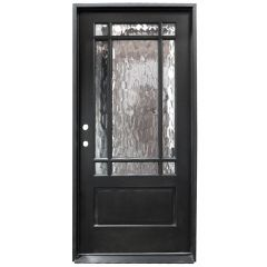 TCM700 9-Lite Exterior Wood Door - Flemish Glass - Smoke - Right Hand Inswing