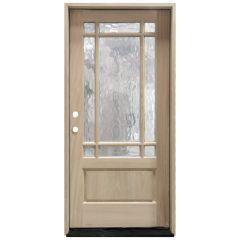 TCM700 9-Lite Mahogany Exterior Wood Door - Flemish Glass - Right Hand Inswing