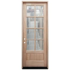 TCM8200 8-Lite Mahogany Exterior Wood Door - Clear Glass - Right Hand Inswing