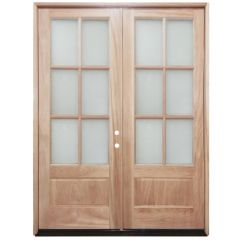 TCM8210 6-Lite Clear Glass Double Exterior Wood Door - Left Hand Inswing