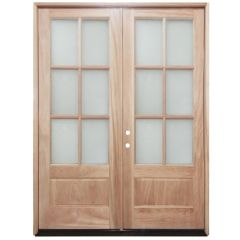 TCM8210 6-Lite Clear Glass Double Exterior Wood Door - Right Hand Inswing