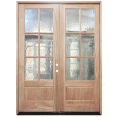 TCM8210 6-Lite Flemish Glass Double Exterior Wood Door - Left Hand Inswing