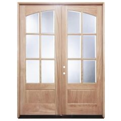 TCM8220 6-Lite Clear Glass Double Exterior Wood Door - Right Hand Inswing