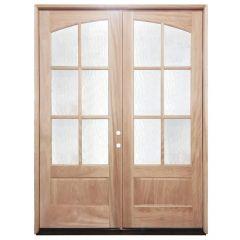 TCM8220 6-Lite Mahogany Double Exterior Wood Door - Left Hand Inswing
