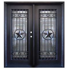 Texas Star Double Wrought Iron Entry Door Left Swing 6068