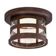 Washburn Rustic Bronze Integrated LED Outdoor Flush Mount Ceiling Light