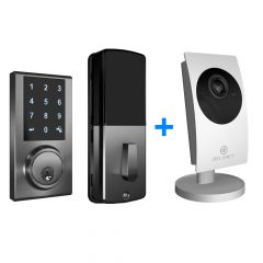 ZW300 Z-Wave Touchscreen Smart Deadbolt with Camera Hub - Satin Nickel