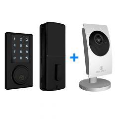 ZW300 Z-Wave Touchscreen Smart Deadbolt with Camera Hub - Black