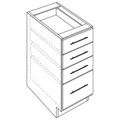 "4 Drawer Base 15"" Avalon White Kitchen Cabinet"