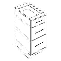 "3 Drawer Base 24"" Avalon White Kitchen Cabinet"