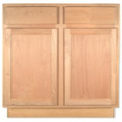 "Sink Base 33"" Unfinished Alder Kitchen Cabinet"