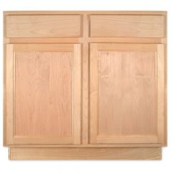 "Sink Base 36"" Unfinished Alder Kitchen Cabinet"