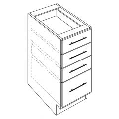 "3 Drawer Vanity Base 15"" Madison Ash Kitchen Cabinet"