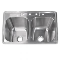 "Drop-In Stainless Steel 50/50 Sink - 8"" Depth"