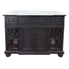 C128 Charcoal Vanity with Classic White Top
