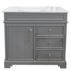 "C2221 36"" Dark Gray Vanity with Luna White Top"