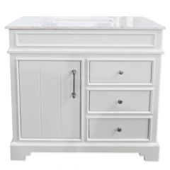 "C2221 36"" Pure White Vanity with Luna White Top"