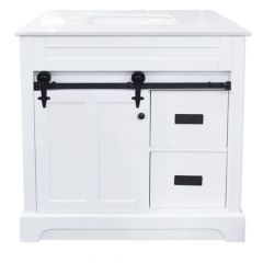 "C2352 36"" White Barn Door Vanity"