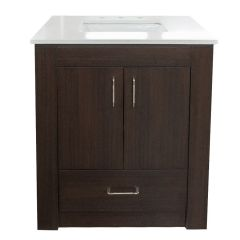 "Sophie 30"" Midnite Vanity with Bianco Quartz Top"