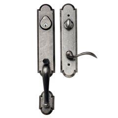 Castille Handleset w/ Tulum Knob - Single Cylinder Deadbolt - Aged Pewter
