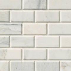 "Arabescato Carrara 3"" x 6"" Honed Marble Subway Tile"